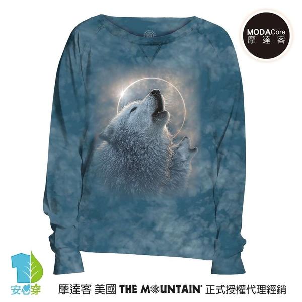 摩達客 預購-美國進口The Mountain 日蝕狼嚎 女版船型領休閒長袖T恤