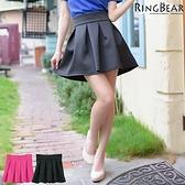 裙子--萬年百搭氣質優雅立體膨度輪廓舒適高腰裙(黑.桃XL-7L)-Q65眼圈熊中大尺碼