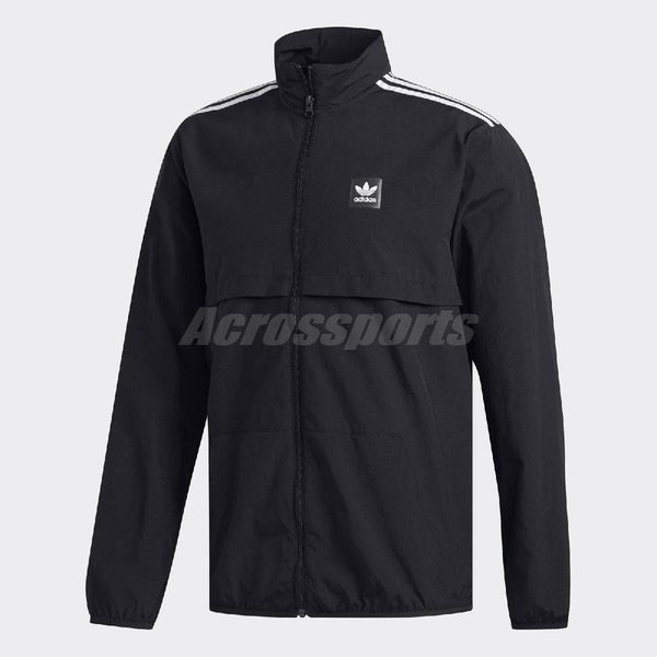 adidas 外套 Originals Jacket 男款 立領 素面 三葉草 三條線 黑白 黑 白 【PUMP306】 DU8324