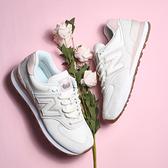 NEW BALANCE 休閒鞋 經典574系列 米白 粉 女 (布魯克林) WL574SAY