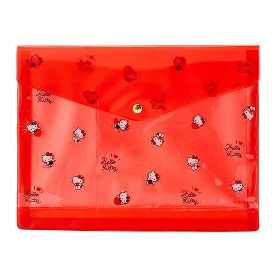 〔小禮堂〕Hello Kitty 方形防水透明扣式資料袋《紅.滿版》手帳收納袋.文具袋 4901610-57541