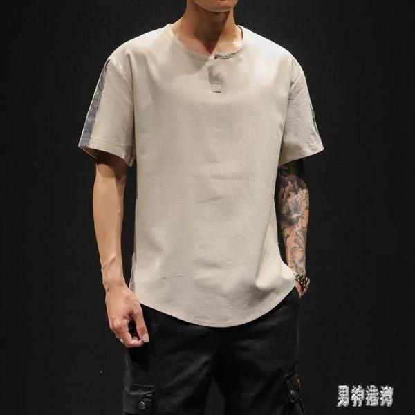夏季新款棉麻短袖T恤 潮酷帥男士休閒寬鬆體恤男圓領衫 QX11539 『男神港灣』