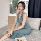 港味新款韓版藍灰色掛脖高腰綁帶復古簡約晚禮服修身顯瘦洋裝女      芊惠衣屋