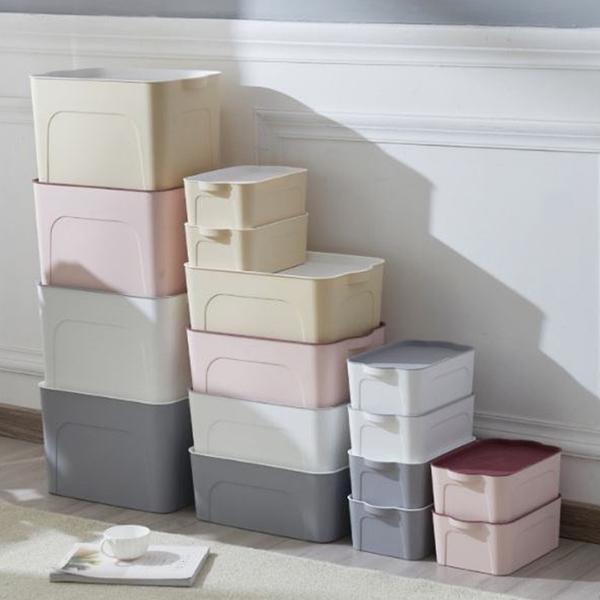 [拉拉百貨]附蓋多功能收納箱 塑料四件套整理箱 床底雜物收纳盒 可加疊-大號賣場