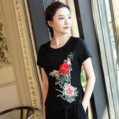 中國風刺繡上衣 民族風女裝上衣 中大尺碼修身盤扣繡花短袖顯瘦T恤