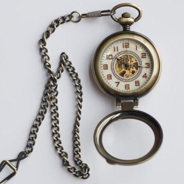 懷錶 放大鏡大數字 翻蓋透明老上海復古自動機械懷錶男女老人古銅掛錶 果果輕時尚