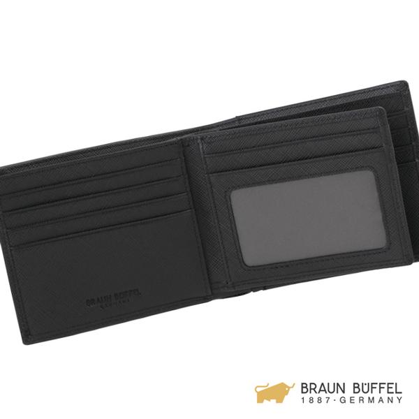 【BRAUN BUFFEL】大富翁系列12卡中間翻透明窗皮夾 -黑色 BF350-317-BK