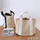 便當袋 日常 休閒草編包飯盒袋子手提便當包戶外度假沙灘包野餐手拎袋 伊莎gz