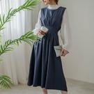 現貨-MIUSTAR 美麗的藍色腰壓褶綁...