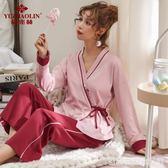日系秋冬睡衣女純棉長袖和服V領寬鬆全棉學生清新家居服套裝甜美  居家物語