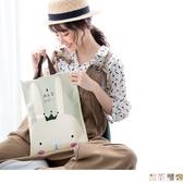 《ZB0836》可愛實用便利帆布附提袋防水文件收納文具袋 OrangeBear