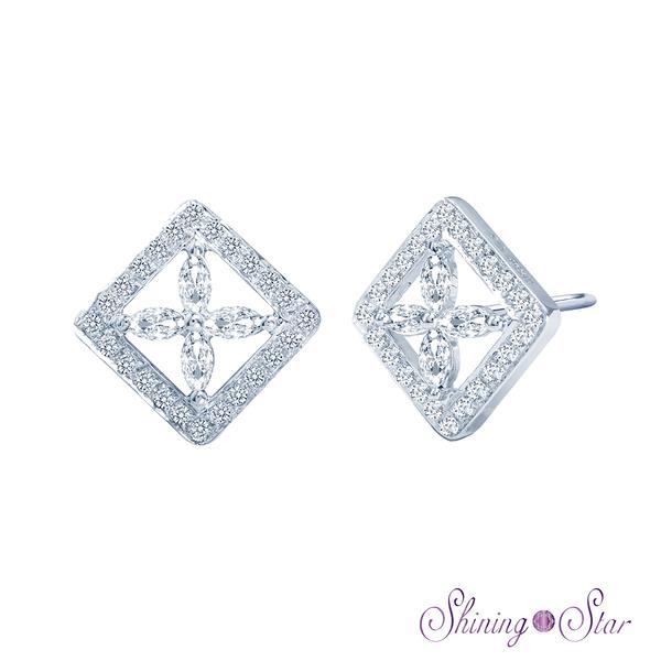 時尚頂級晶鑽白K金耳環 Shining Star K金 飾品 耳環(擁有八心八箭精密切工)