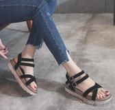 涼鞋女夏季平底鞋新款學生百搭厚底ins潮一字帶羅馬仙女鞋 簡而美