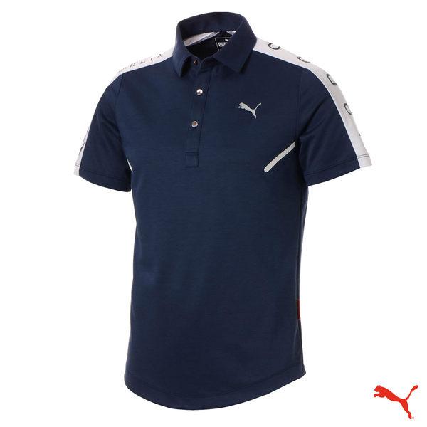 Puma Golf 男版翻領雙肩印花POLO衫 CA Shoulder Panel 藍 923859 01