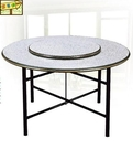 [ 家事達 ]DF- B289-3  木心板鐵腳圓餐桌-白石-5尺圓   特價 限送中部