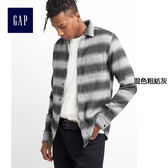 Gap男裝 舒適純棉粗斜紋布西部風襯衫 125983-混色粗紡灰
