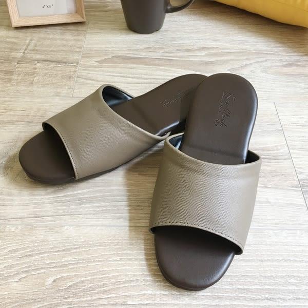 經典-紳士皮質室內拖鞋-法蘭棕