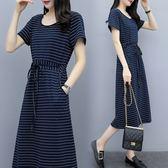 特賣款不退換中大尺碼L-5XL韓版條紋似休閒裙長裙大碼連衣裙顯瘦加肥加大條紋純棉裙子3F102-6219