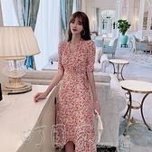 洋裝2021夏季新款收腰新款法式復古氣質顯瘦V領泫雅風碎花裙連身裙女 【618特惠】