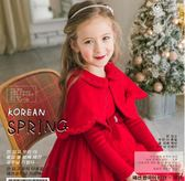 船鼠兒童披風斗篷秋冬外出棉里襯小女孩公主韓版紅色女童披肩外套 卡米優品