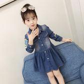 童裝女童春裝2018新款韓版女童牛仔裙子兒童連衣裙長袖洋氣潮衣  無糖工作室