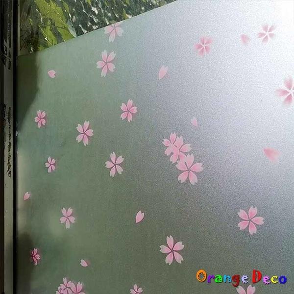 【橘果設計】櫻花 靜電玻璃貼 90X200CM 防曬抗熱 無膠設計 磨砂玻璃貼 可重覆使用 壁紙