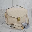 BRAND楓月 LOUIS VUITTON LV M44072 經典 LOGO壓紋 白色 郵差包 肩背包 側背包