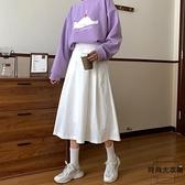 長裙 中長款A字裙子高腰顯瘦半身裙女【時尚大衣櫥】