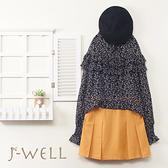 J-WELL 雙層荷葉印花上衣學院風短褲裙 二件組(組合A536 8J1388黑+8W5002黃)