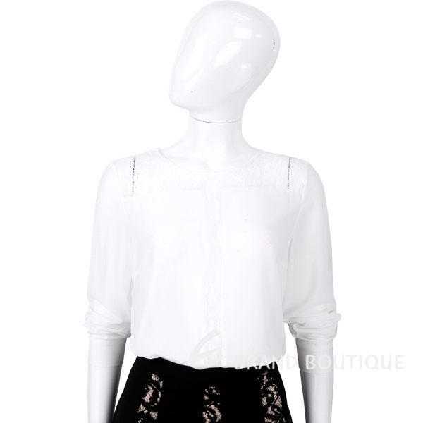 BLUGIRL 白色蕾絲拼接長袖上衣 1540294-20