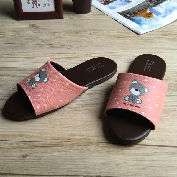 台灣製造-經典系列-親子室內拖鞋-療癒小熊-兒童-粉