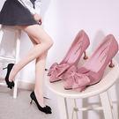 春季新款尖頭淺口蝴蝶結中跟高跟黑色工作職業女鞋GZX-10