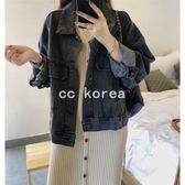 短版蝙蝠袖寬鬆牛仔外套 CC KOREA~ Q24590
