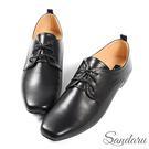 紳士鞋 簡約素面皮革方頭小皮鞋-黑