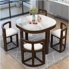 摺疊餐桌家用小戶型伸縮實木飯桌酒店餐廳橢圓大理石餐桌椅組合