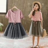 女童夏套裝 女童連衣裙套裝新款2020夏裝兒童時髦中童小學生女孩短袖小孩衣服【快速出貨】