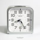 SEIKO精工鬧鐘 圓弧方型銀色白底鈴聲鬧鐘 滑動式靜音秒針 夜光功能 柒彩年代【NV1750】原廠公司貨