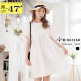 洋裝--時尚百搭素色木耳邊褶皺拼接後綁帶寬鬆短袖連身裙(白.黑L-3L)-D538眼圈熊中大尺碼