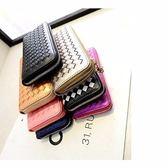 現貨-韓國超時尚簡約拉鍊編織男女長皮夾/零錢包/卡包/手拿包 韓版撞色 ~可放iphone手機