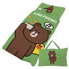 【享夢城堡】LINE FRIENDS 熊大愛自拍系列-兒童睡袋(綠)