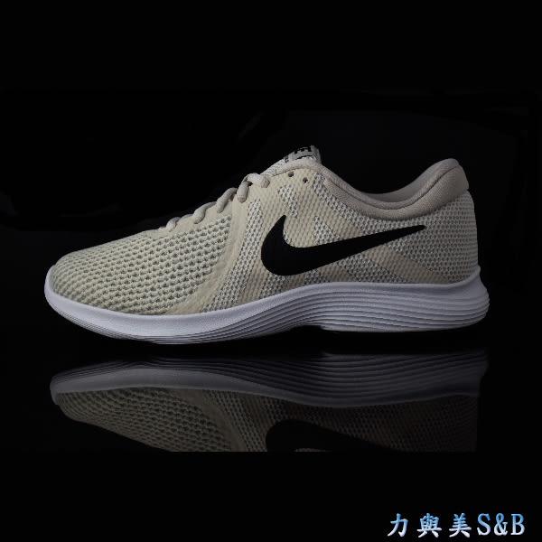 NIKE 女慢跑鞋 簡約設計舒適好穿 WMNS NIKE REVOLUTION 4 米色鞋面+黑色LOGO 【7673】