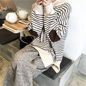 Princessxshop日常舒服搭配單品軟糯連帽條紋毛衣DL8110238正韓國連線毛衣針織秋冬外套洋裝風