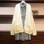 中大尺碼XL-5XL棉花糖秋裝新款千鳥格壓褶連衣裙毛衣外套單件價8633.4F096依品國際