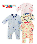 寶寶 童裝 純棉連身衣 親膚可愛印花嬰兒長袖衣HOT BISCUITS【MIKIHOUSE】70-1201-953