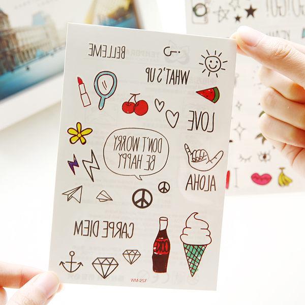 【00140】 韓款小清新 夏日可愛防水紋身貼紙 1張入 皇冠王冠鑽石 星星英文字母 轉印貼紙 彩繪