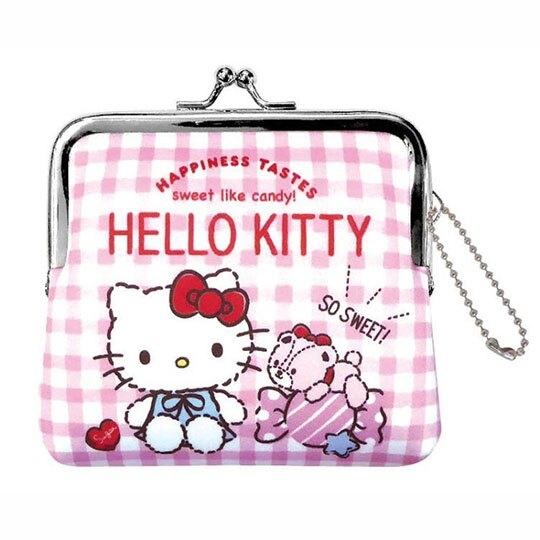 小禮堂 Hello Kitty 潛水布口金零錢包 吊飾零錢包 小物收納包 (粉 格紋) 4930972-50214
