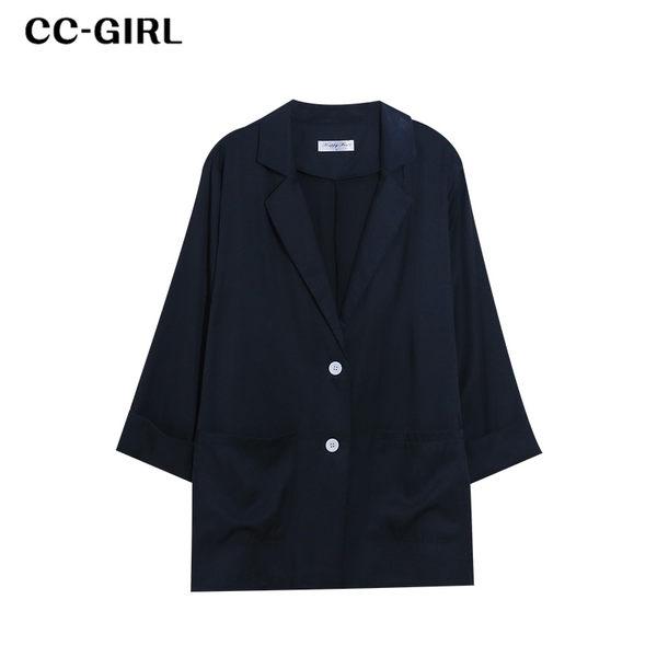 中大尺碼 中長款西裝外套~共兩色 - 適XL~4L《 69021 》CC-GIRL