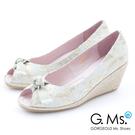 G.Ms. 魚口織帶蝴蝶結蕾絲金線花蔓楔型鞋*時尚白