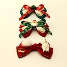 聖誕頭飾 原創圣誕發飾蝴蝶結發夾新年夾子韓版發卡手工簡約彈簧夾頂夾頭飾