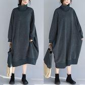 毛圈棉高領針織洋裝連身裙 秋冬新加厚寬鬆顯瘦抓絨中長款套頭長袖裙子 週年慶降價